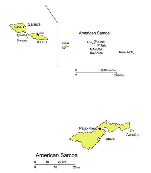 American Samoa Map for PowerPoint, Islands, Capital