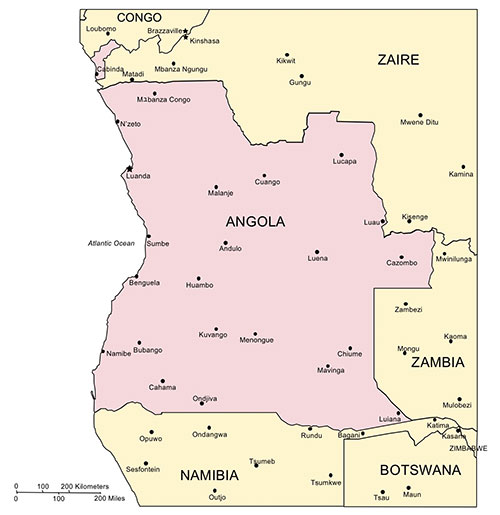 Angola Map for PowerPoint, Major Cities and Capital