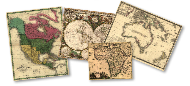 Antique Historical Vintage maps