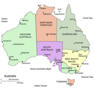 Australia PowerPoint Map, Administrative Districts, Capitals