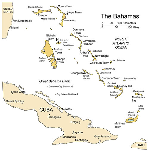 Bahamas PowerPoint Map, Island, Administrative Districts, Capitals