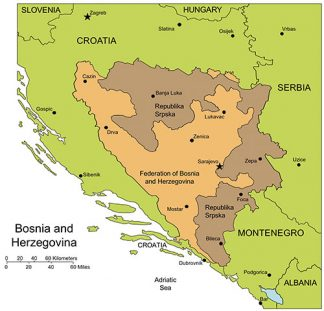 Bosnia and Herzegovina PowerPoint Map, Administrative Districts, Capitals