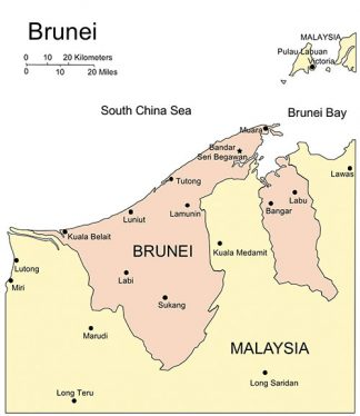 Brunei PowerPoint Map, Major Cities and Capital