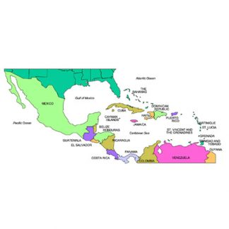 Central America Regional Map, Countries, Names