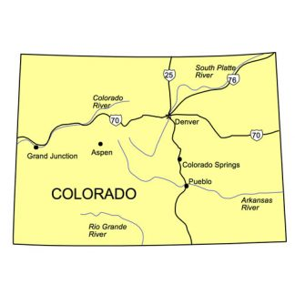 Colorado US State PowerPoint Map, Highways, Waterways, Capital and Major Cities