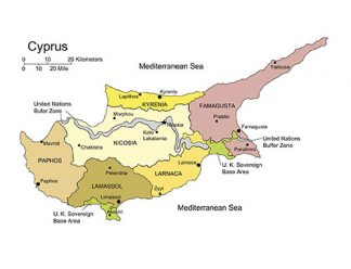 Cyprus Island PowerPoint Map, Administrative Districts, Capitals