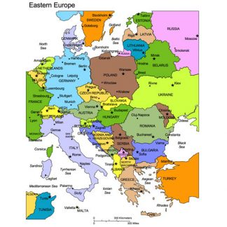 Eastern European Landscape and Portrait Regional PowerPoint Map, Countries, Names