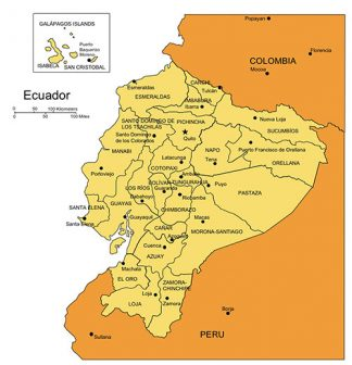 Ecuador PowerPoint Map, Administrative Districts, Capitals