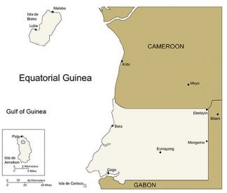 Equatorial Guinea PowerPoint Map, Major Cities and Capital