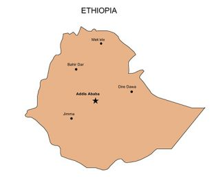 Ethopia PowerPoint Map, Major Cities and Capital