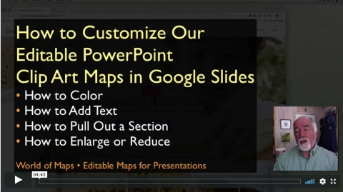 Our PowerPoint editable maps work very nicely in google Slides