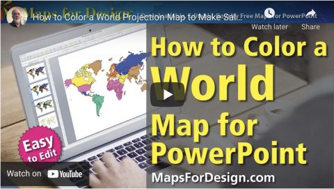 how to color a world projection map for PowerPoint