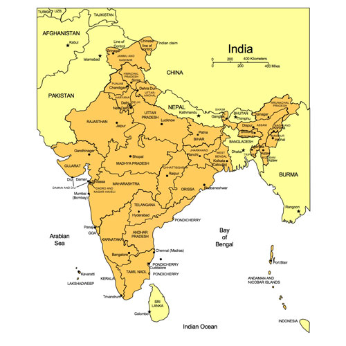 India PowerPoint Map, Administrative Districts, Capitals