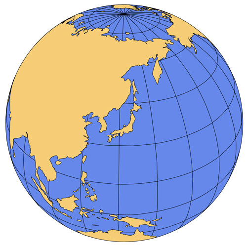 Japan Pacific Global Projection PowerPoint Map