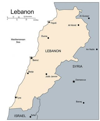 Lebanon PowerPoint Map, Major Cities and Capital
