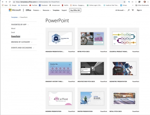 PowerPoint templates from  MicroSoft for creating presentations