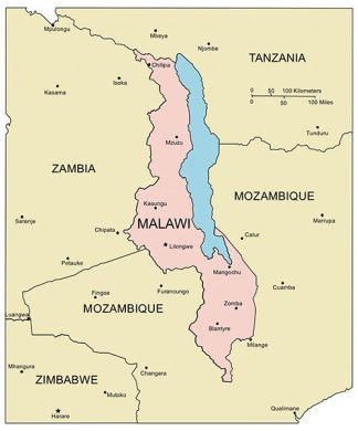 Malawi PowerPoint Map, Major Cities and Capital