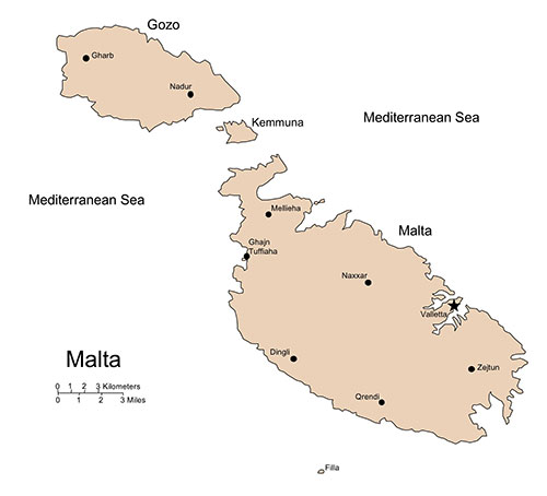 Malta PowerPoint Map, Island, Administrative Districts, Capitals