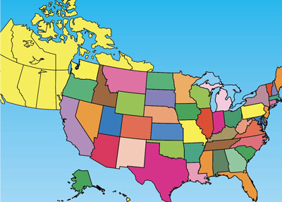 USA and Canada powerpoint maps directory page