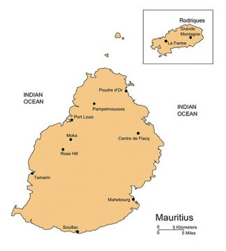 Mauritius Map for PowerPoint, Islands, Capital