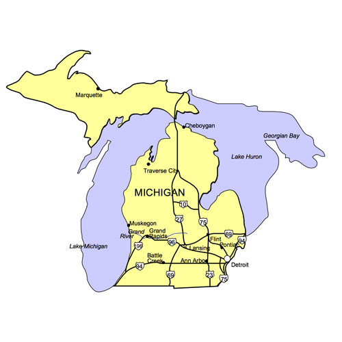 Michigan US State PowerPoint Map, Highways, Waterways, Capital and Major Cities