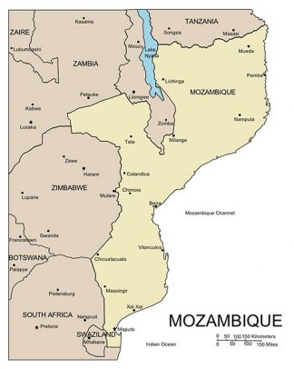 Mozambique PowerPoint Map, Major Cities and Capital