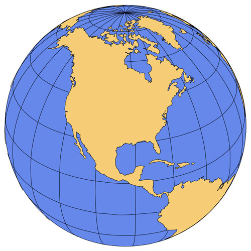 North America Global Projection PowerPoint Map