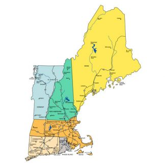 New England States PowerPoint Map, Highways, Waterways, Capital and Major Cities