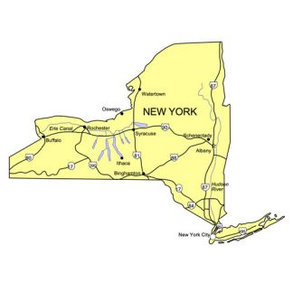 New York State PowerPoint Map, Highways, Waterways, Capital and Major Cities