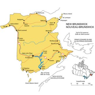 New Brunswck, Canada Province PowerPoint Map, Highways, Waterways, Cities