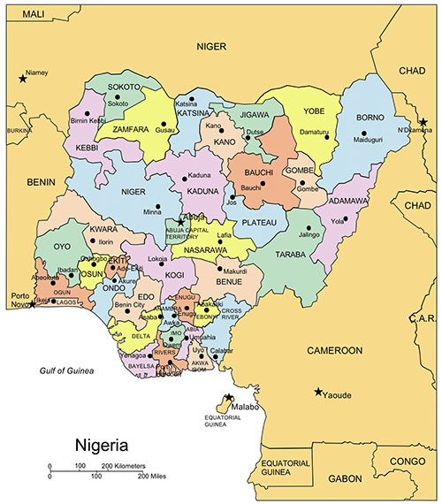 Nigeria PowerPoint Map, Administrative Districts, Capitals