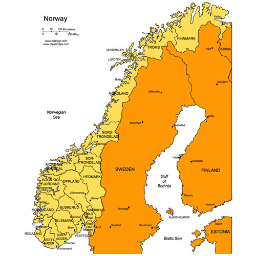 Norway PowerPoint Map, Administrative Districts, Capitals