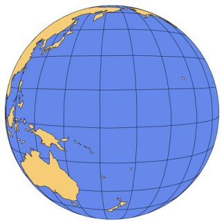 Pacific Ocean Global Projection PowerPoint Map