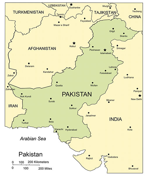 Pakistan PowerPoint Map, Major Cities and Capital