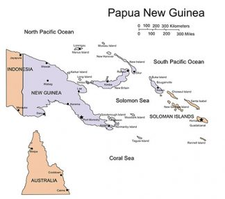 Papua New Guinea PowerPoint Map, Major Cities and Capital