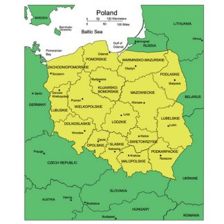 Poland PowerPoint Map, Administrative Districts, Capitals