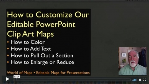 Quick start for customizing our editable PowerPoint Map, color, add text, pull out a section, resize