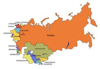 Russia PowerPoint Map, with Surrounding Countries