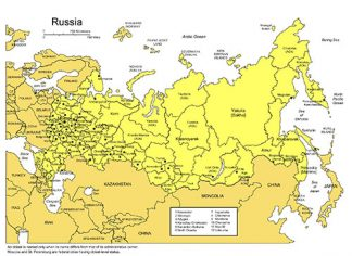 Russia PowerPoint Map, Administrative Districts, Capitals