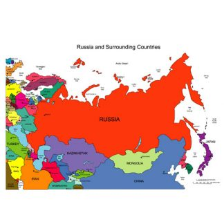 Russia with Countries Regional PowerPoint Map, Countries, Names