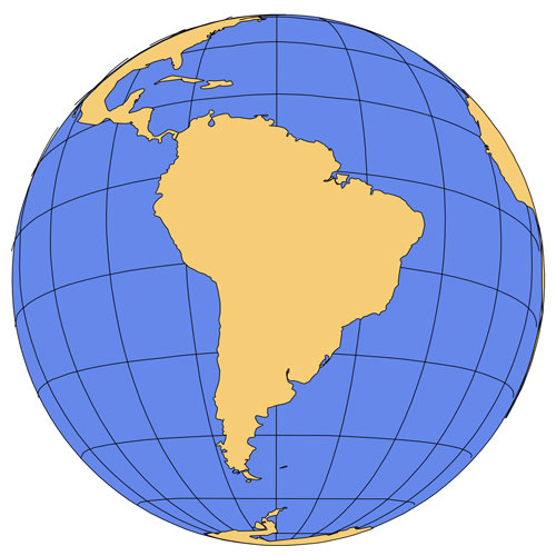 South America Global Projection PowerPoint Map