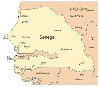 Senegal PowerPoint Map, Major Cities and Capital