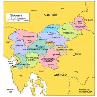 Slovenia, PowerPoint Map, Administrative Districts, Capitals