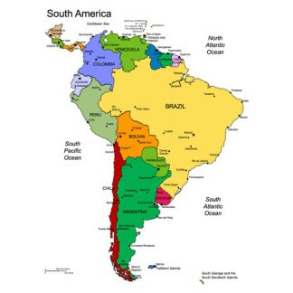 South America Regional PowerPoint Continent Map, Countries, Names