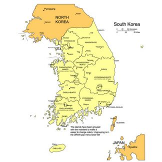 South Korea PowerPoint Map, Administrative Districts, Capitals