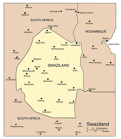 Swaziland PowerPoint Map, Major Cities and Capital
