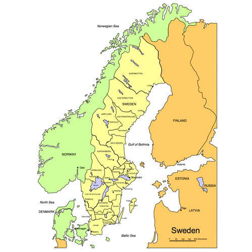 Sweden, PowerPoint Map, Administrative Districts, Capitals