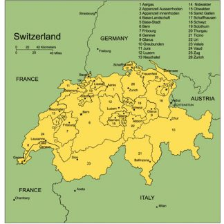 Switzerland, PowerPoint Map, Administrative Districts, Capitals