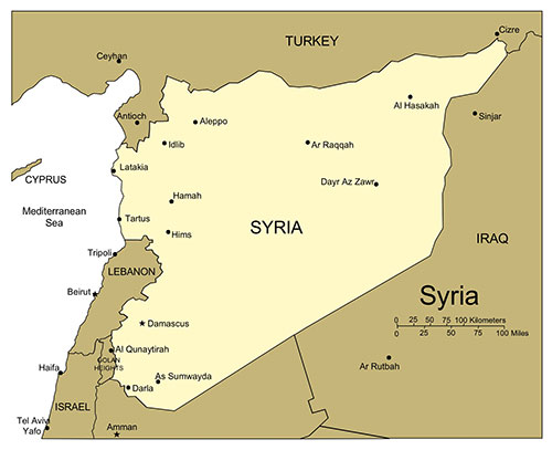 Syria, PowerPoint Map, Major Cities and Capital