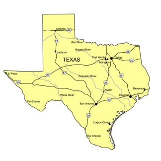 Texas US State PowerPoint Map, Highways, Waterways, Capital and Major Cities